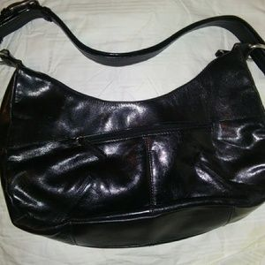 Relatively Black Leather Hobo Shoulder Bag